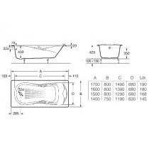 Ванна чугунная ROCA HAITI 1500*800 с ручками A23325000R (в комплекте с ножками)