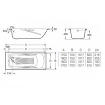 Ванна ROCA PRINCESS 1600*750 A2203N0001 (в комплекте с ножками)
