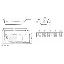 Ванна ROCA SWING 1700 A220170001 ( в комплекте с ножками)