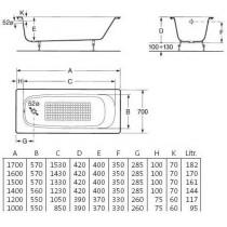 Ванна чугунная ROCA CONTINENTAL 1500*700 A21291300R (в комплекте с ножками)