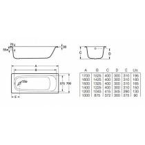 Ванна ROCA CONTESA 1600*700 А235960000 ( в комплекте с ножками)