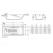 Ванна ROCA PRINCESS 1500*750 с ручками А220470001 (в комплекте с ножками)
