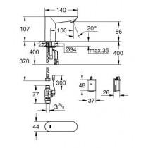 Смеситель с инфракрасной электроникой для умывальника Euroeco Cosmopolitan E 36271000