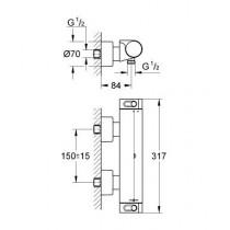 Смеситель термостатический для душа Grohtherm 2000 34169001