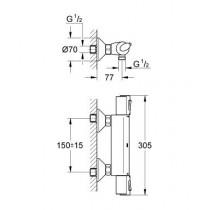 Смеситель термостатический для душа GRT 1000+ 34143000