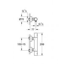 Смеситель термостатический для душа GRT 1000C 34065000