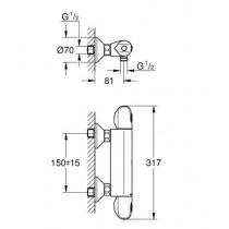 Смеситель термостатический для душа Grohtherm 1000 New 34143003