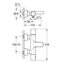 Смеситель для ванны термостатический GRT 3000 Cosmopolitan, 34276000