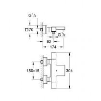 Смеситель термостатический для ванны Grohtherm Cube 34497000