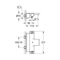Смеситель термостатический для ванны Grotherm 2000 NEW 34464001