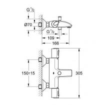 Смеситель для ванны термостатический GRT 1000+ 34155000