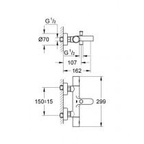 Смеситель для ванны термостатический GRT 1000C 34215000